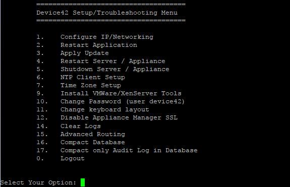 Setup & Troubleshooting Menu - Device42 Documentation | Device42