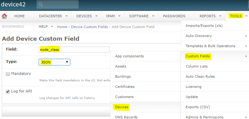 Add Device42 Custom Field