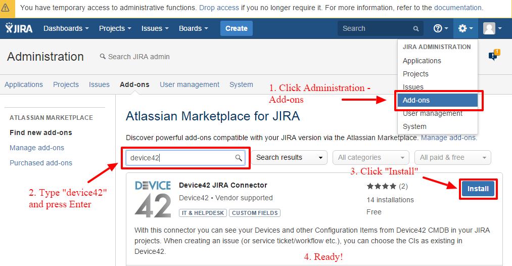 Jira (self-hosted) Integration - Device42 Documentation