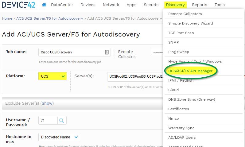 Cisco UCS auto discovery MENU