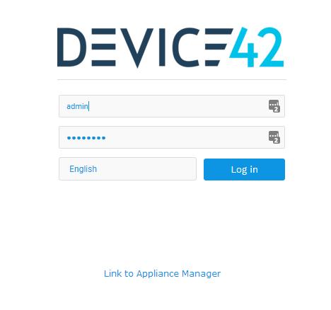 Device42 UI Login Screen