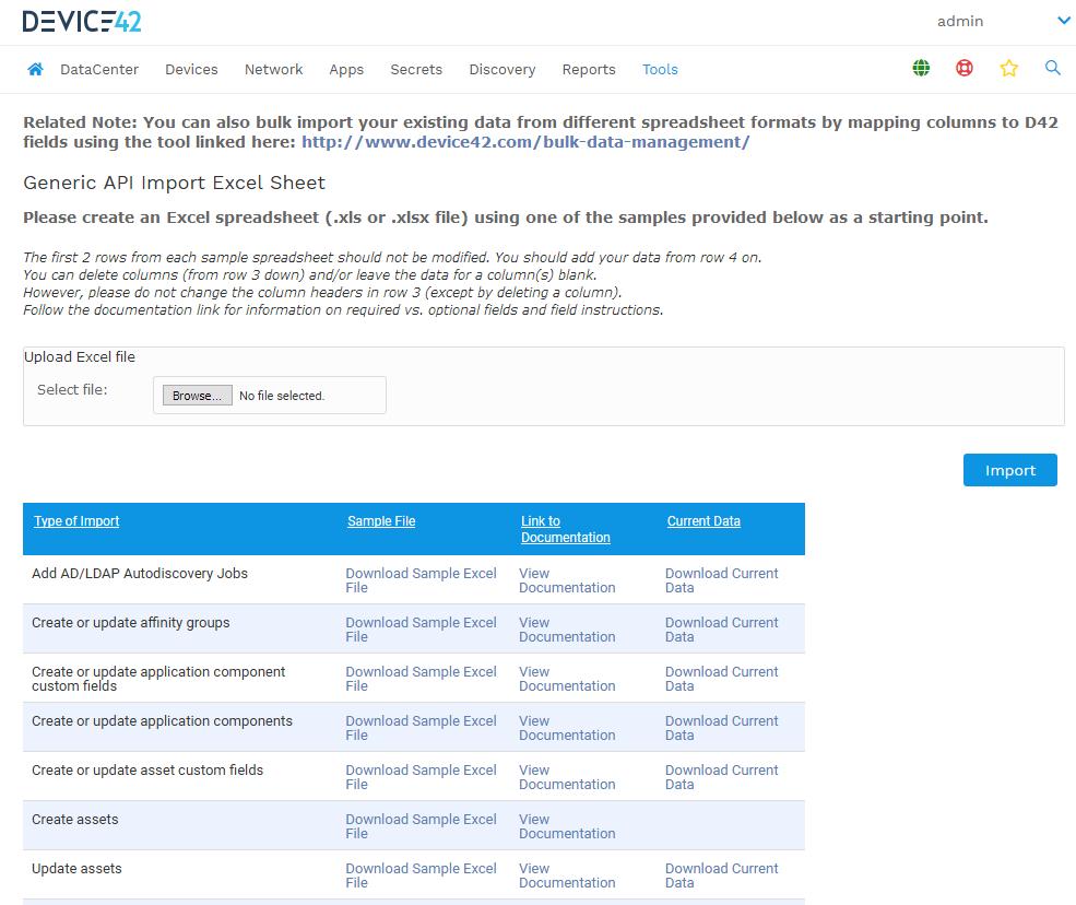 Generic API Import Excel Sheet
