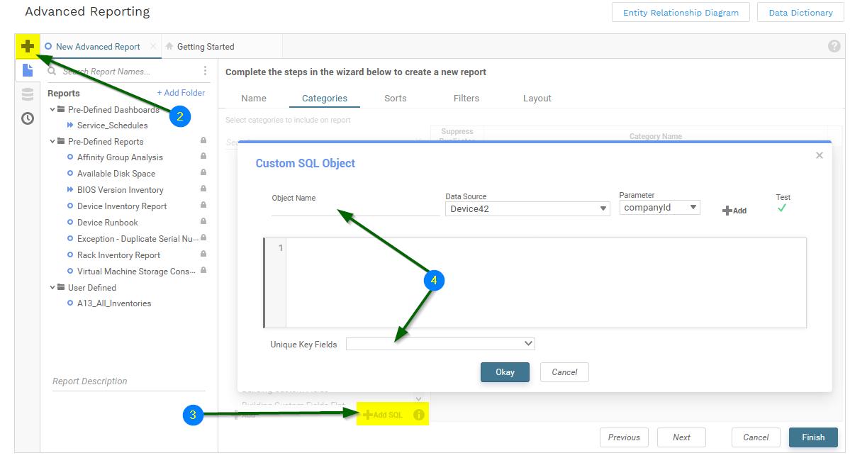 Create advanced report with custom SQL
