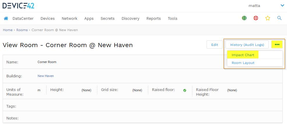 View impact chart menu button