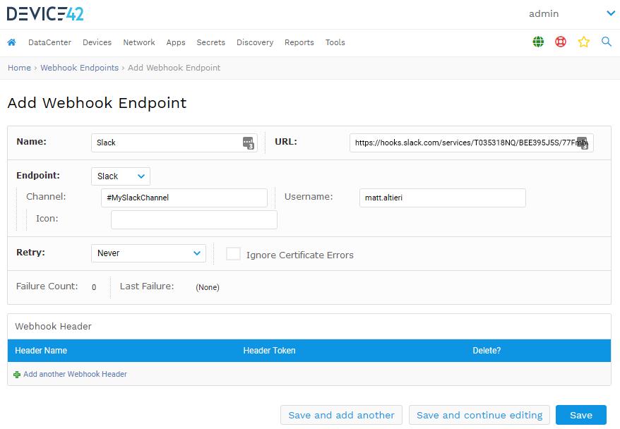 Add a Slack Webhook endpoint