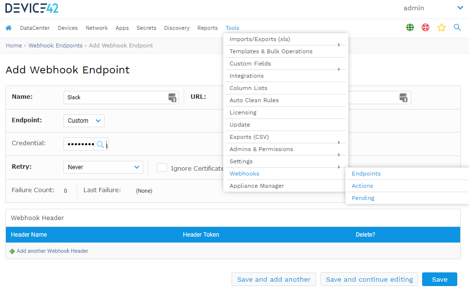 Add a new webhook endpoint