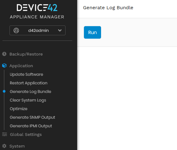 Generate Log Bundle via Appliance Manager