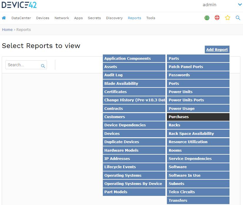 classic reports menu