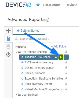 Run existing advanced report