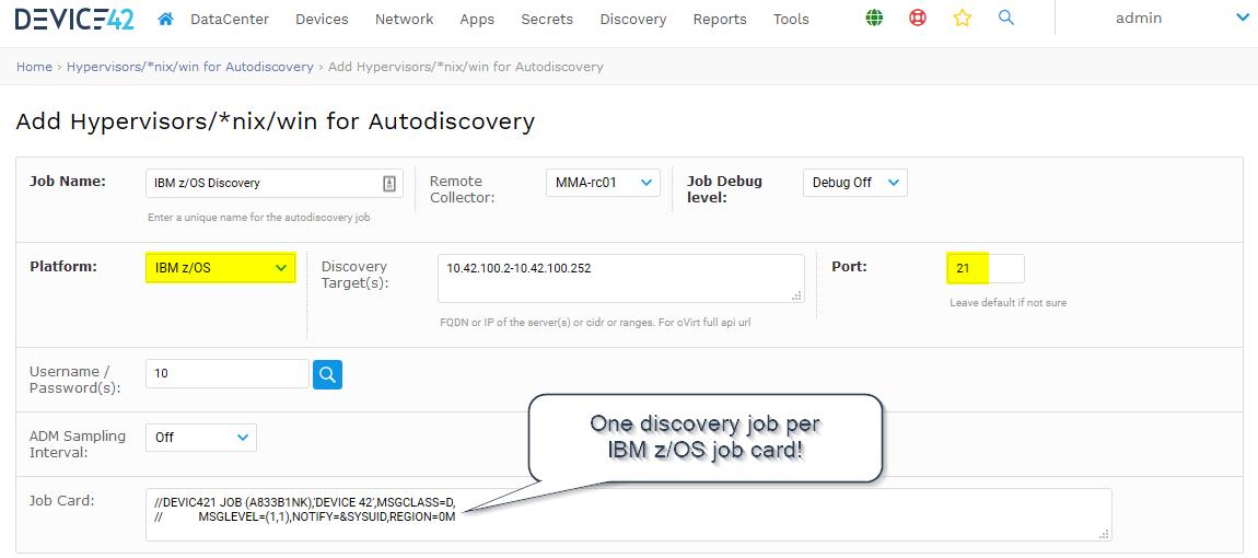 IBM z/OS discovery