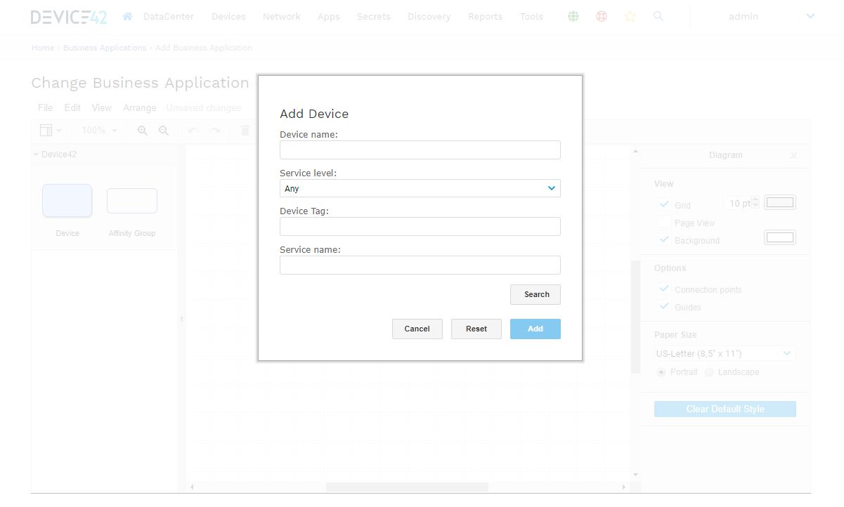 Add device to buisness app dialog