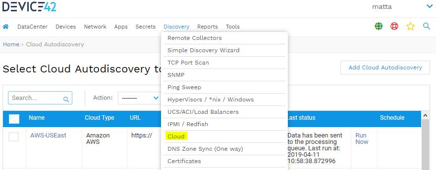 Cloud Discovery menu in Device42