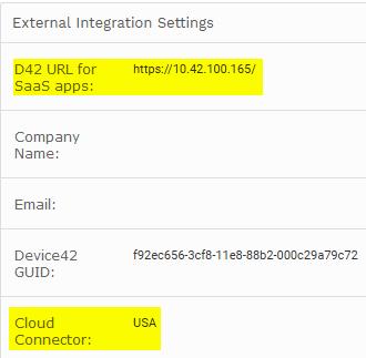 External Integration / Cloud Connector config